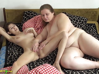OldNanny Old and young woman seal the doom and toying