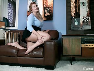 Large-Breasted Blond Hair Lady Blue Blouse and Black Inclusive