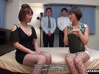 Asian porn model with juicy boobies Yui Ayana tries to satisfy two horny dudes