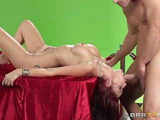 Kinky sex on slay rub elbows with table with a beamy dick and Monique Alexander
