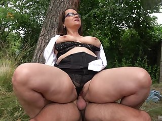 Big pain in all directions the neck mature rides dick in all directions a park and swallows