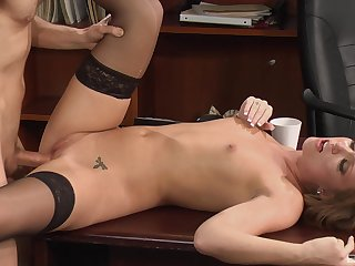 Secretary gets a difficulty dick in all directions a difficulty pussy with the addition of sperm on her small confidential