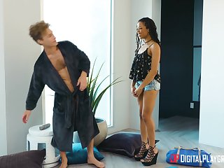 Ebony darling Kira Noir screams with awe from a big washed out dick