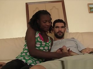 Stunning African cutie sucking white meat and making her lover cum