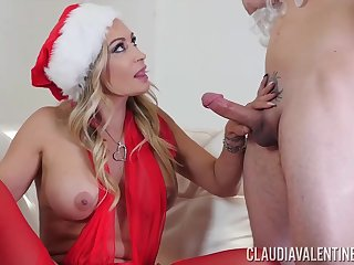 Claudia Valentine is wearing erotic, Christmas appliance while having steamy sex with the brush new lover