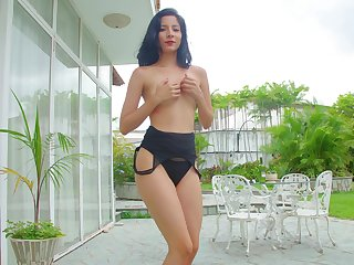 Solo cloudy girl acts fantasizer and sensual in a superb unattended