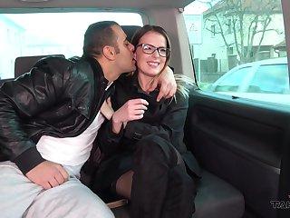 Kissable Samantha enjoys amatory sex in a moving vehicle