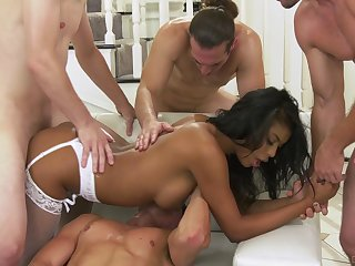 Busty ebony nailed by a party of white dudes and jizzed hard