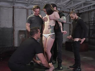 Tattooed hooker Vanessa Vega is fucked and jizzed by several brutal guys