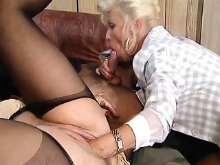 Hot increased by horny blonde mature fucked increased by fisted on adjoin