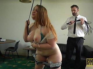Beamy slut Estella Bathory gets the brush giant ass spanked and puss fucked