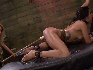 Lezdom BDSM innings for sexy girls Isa Mendez, Mila Blaze plus Ava Kelly