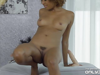 Curly-haired ebony Luna Corazon trembling on her orgasms -