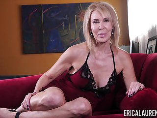 Busty mature pretty good lady Erica Lauren teases her really hungry pussy