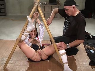 Submissive unreserved endures time again of pussy clamping and bondage carnal knowledge