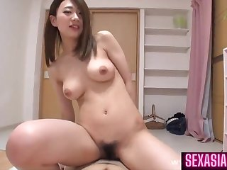 Lascivious cousin with perky tits - Hairy Asian pussy in amateur hardcore