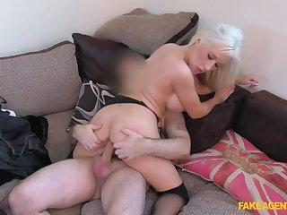 Brave Blonde Sucks Burnish apply Cum Out Of Agent's Cock