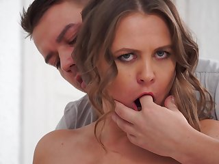 Gentle fucking between a younger man and MILF Goldie Knock back in stockings